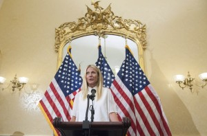 "WASHINGTON, DC - AUGUST 05: Actress Gwyneth Paltrow speaks during a news conference to discuss opposition to H.R. 1599 on August 5, 2015 in Washington, DC.  H.R.1599, known as the ""Deny Americans the Right to Know (DARK),"" which would ""take away the right of states to label Genetically Modified Organisms, stop the Food and Drug Administration from ever using its authority to craft a national GMO labeling standard, and add to consumer confusion by allowing 'natural' claims on GMO foods."" (Photo by Kris Connor/Getty Images)"