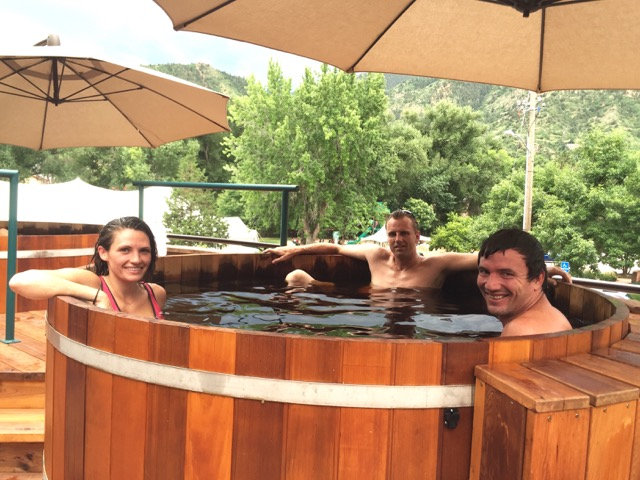 Opening night guests enjoy a soak in the mineral pool